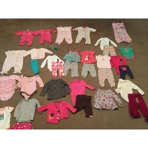Lot Of 35 Girls Clothes 0-3, 6-9, 9-12+ Months